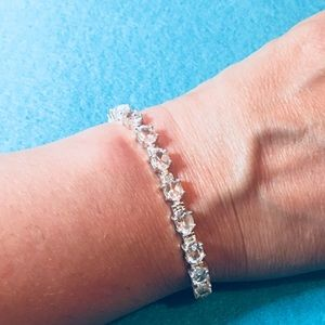 New Clear Water Sterling Silver Bracelet with CZ